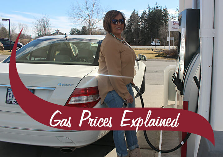 Gas pump with woman pumping gas