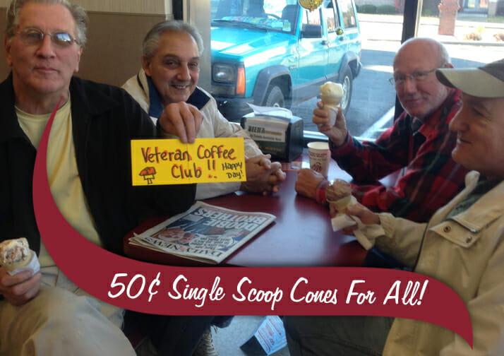 50 cent Veterans Day Ice Cream Cones