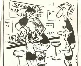 1948 Stewarts Cartoon Drawing