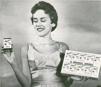 "Woman holding ""Perky Paks"" – individual ice cream"