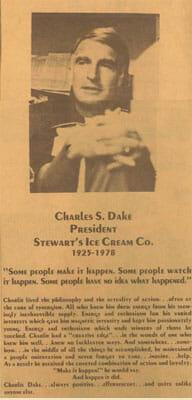 Charlie Dake Obit from the Newspaper