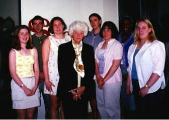 Group of students awarded scholarships with Phyllis Dake