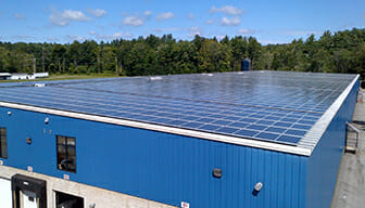 Solar panels on a warehouse roof