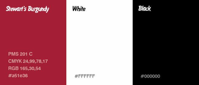 Stewart's Branding - PMS201C, White, and Black