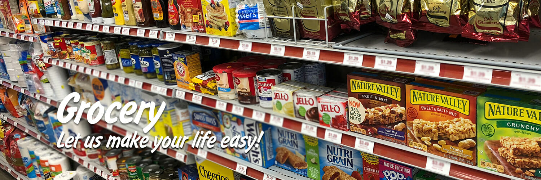 Stewart's grocery shelf. Granola bars, coffee, baking needs