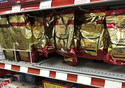 Stewart's gold coffee bags