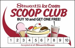 Stewarts ice cream scoop club card