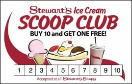 Stewart's Ice Cream Scoop Club Card - Buy 10 and get one free!