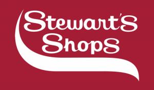 Stewarts Shops Logo - White on Burgundy Background