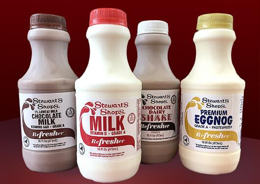 Stewart's Shops Dairy Refreshers. Eggnog, milk, chocolate milk