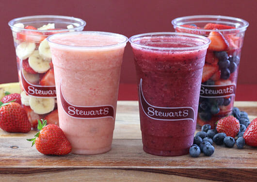 mixed berry and strawberry banana smoothies