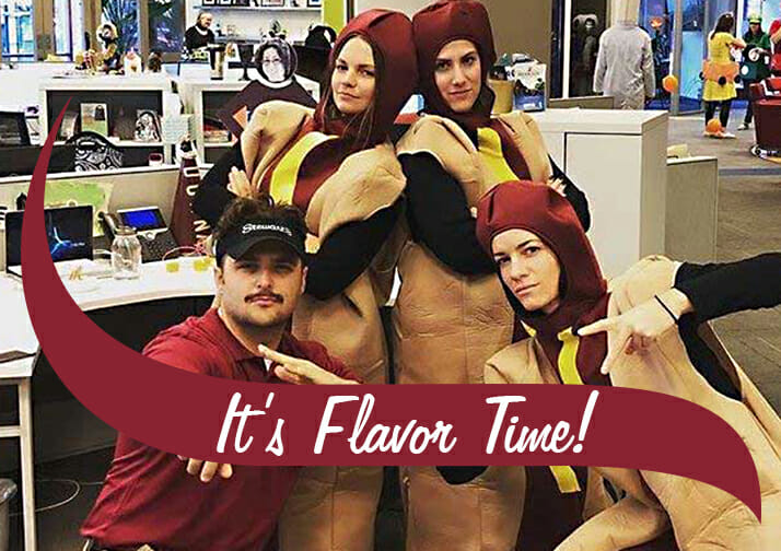 people dressed up for Halloween with the text It's Flavor Time