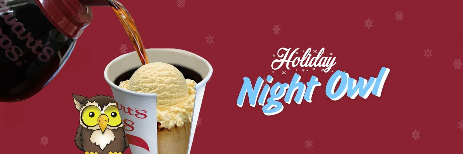 Holiday Night Owl. Ice Cream scoop in a cup with hot coffee pouring over.