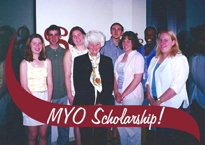 MYO Scholarship. A group of students around Philly Dake