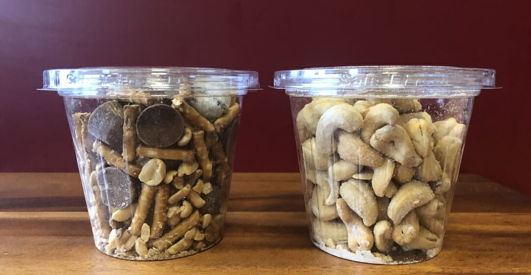 Car Cups with Nuts and Trail Mix