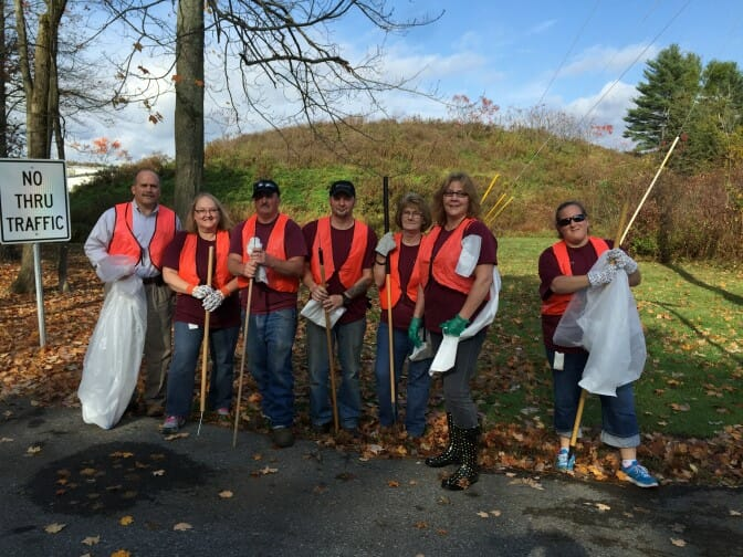 Group cleaning up road side trash