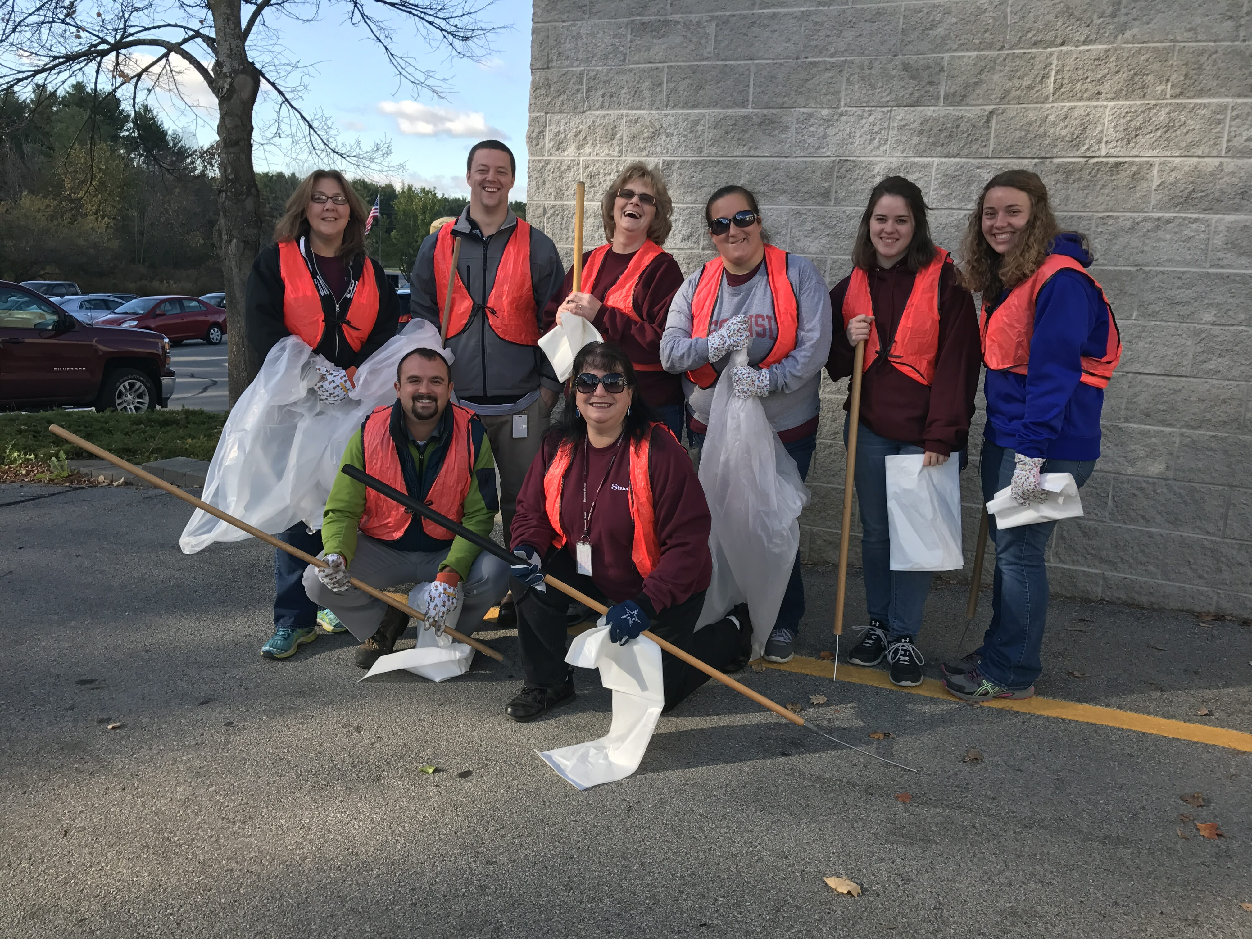 Employee road side cleaning crew