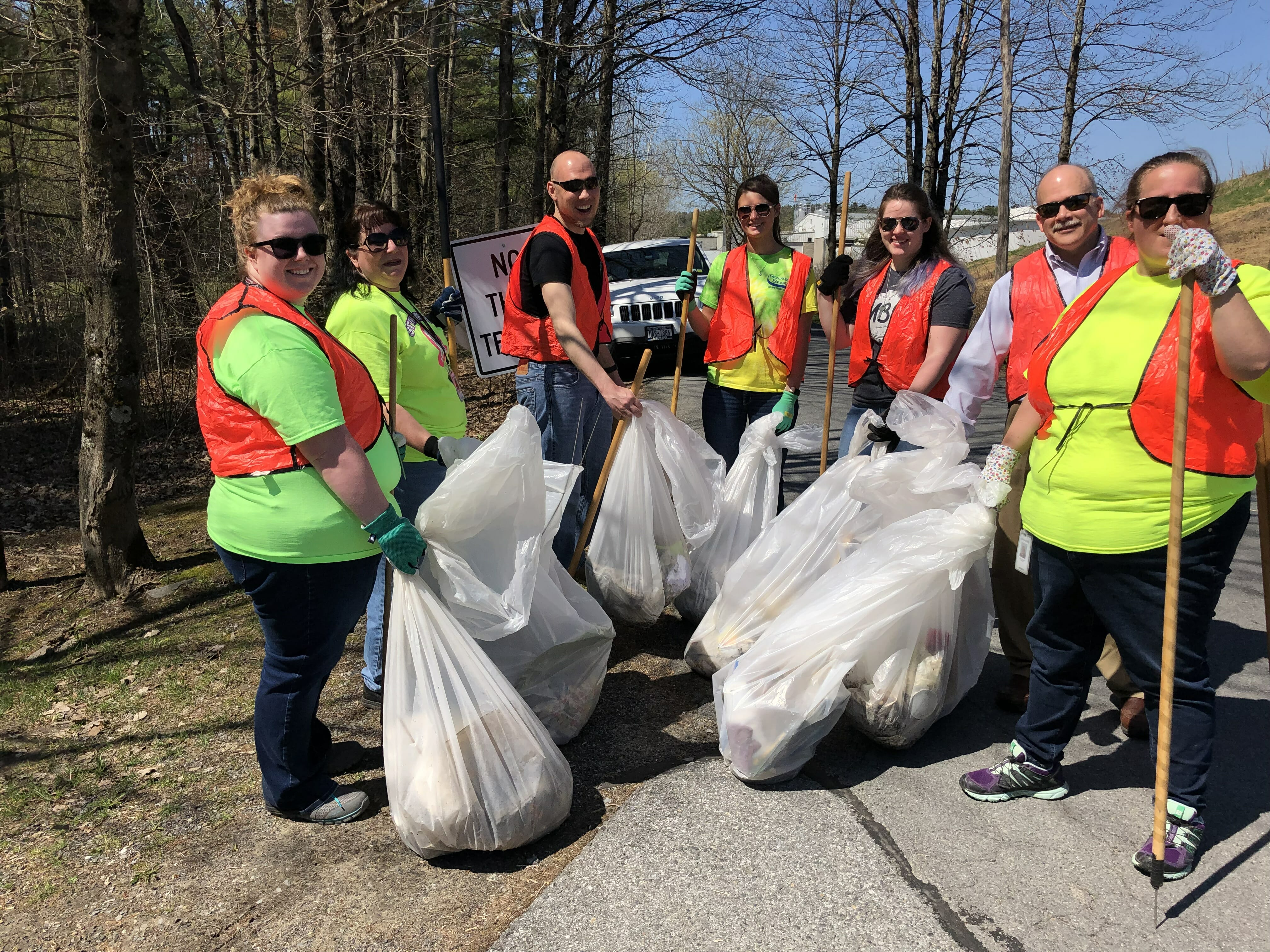 full garbage bags from roadside cleanup crew