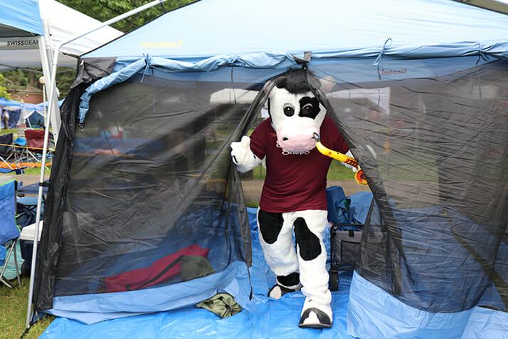 flavor mascot exiting tent