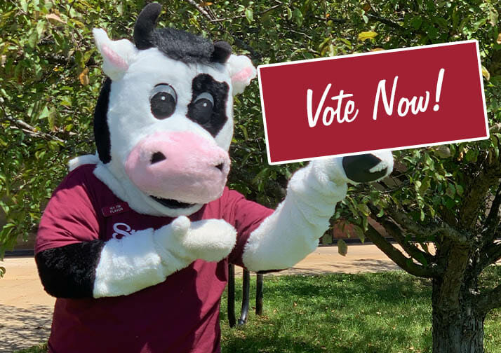 Flavor mascot with vote now sign
