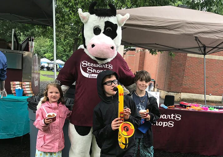 flavor mascot and young fans
