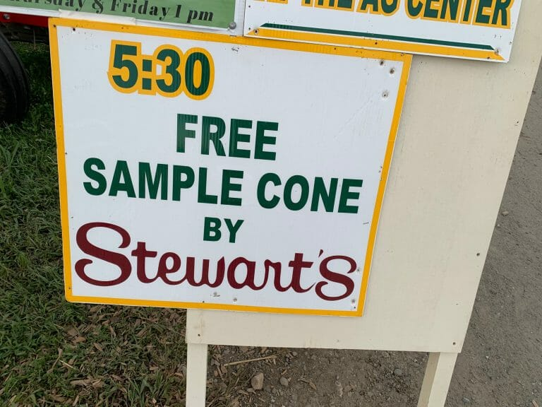 FREE Ice Cream from Stewart's Sign at the Washington County