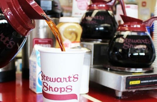 Coffee being poured at Stewart's Shops