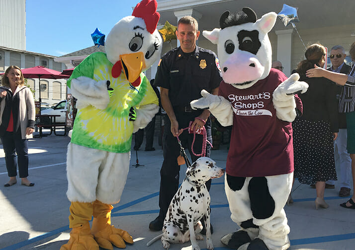 mascots, police officer and dalmation