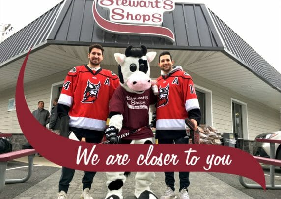 Adirondack Thunder Players with Flavor, the Stewart's Shop Mascot