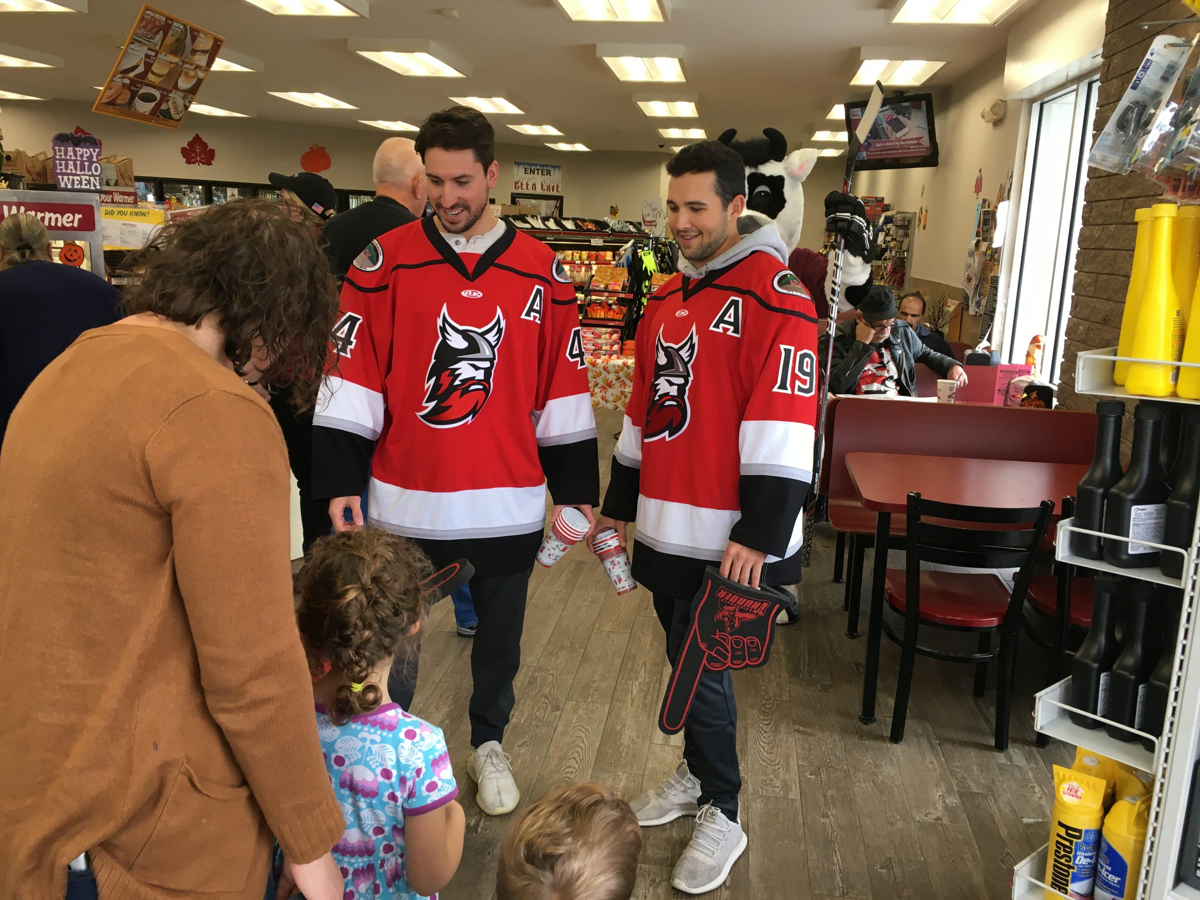 hockey players and customers