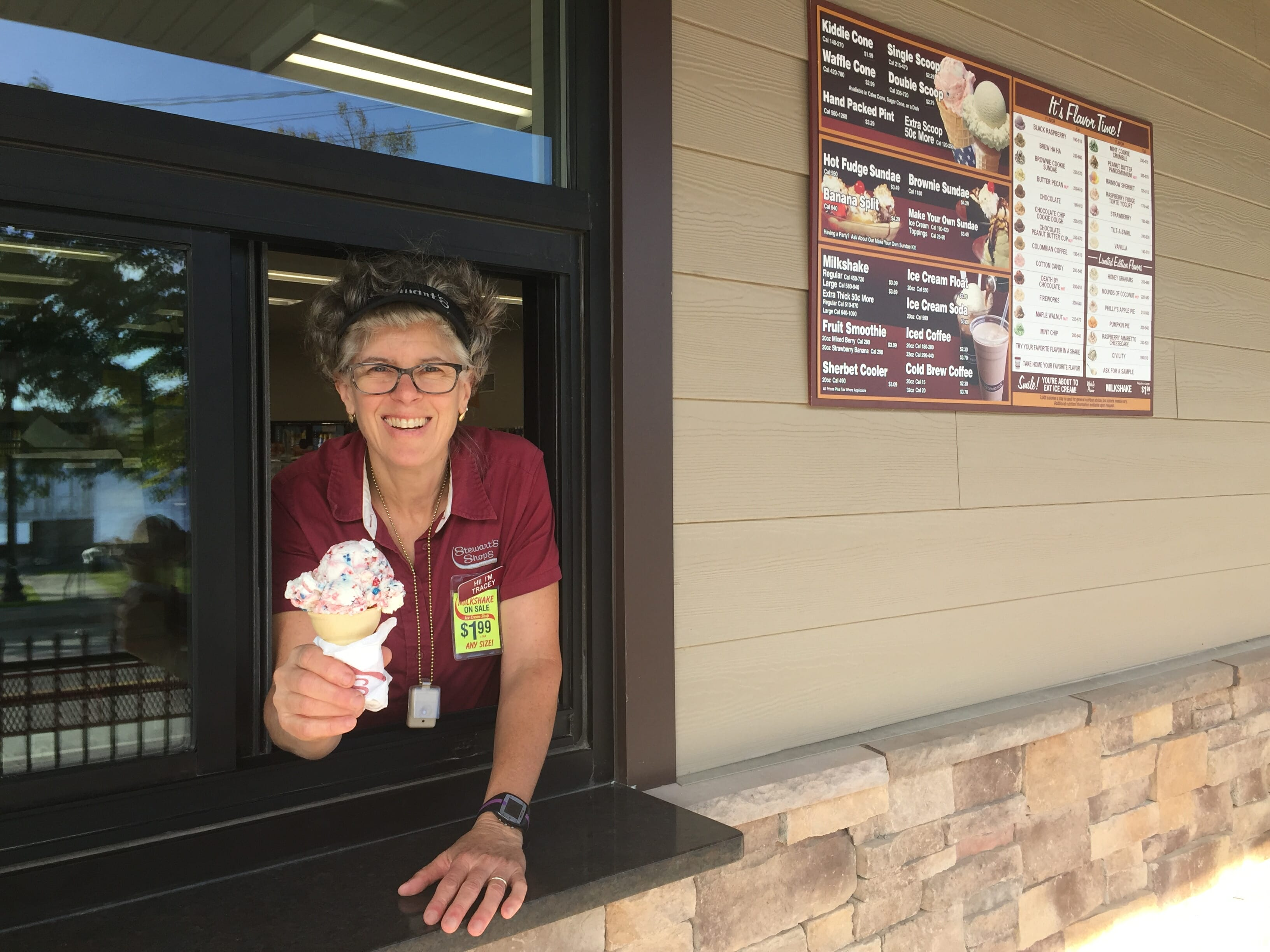 A unique ice cream window at the Schroon Lake Shop