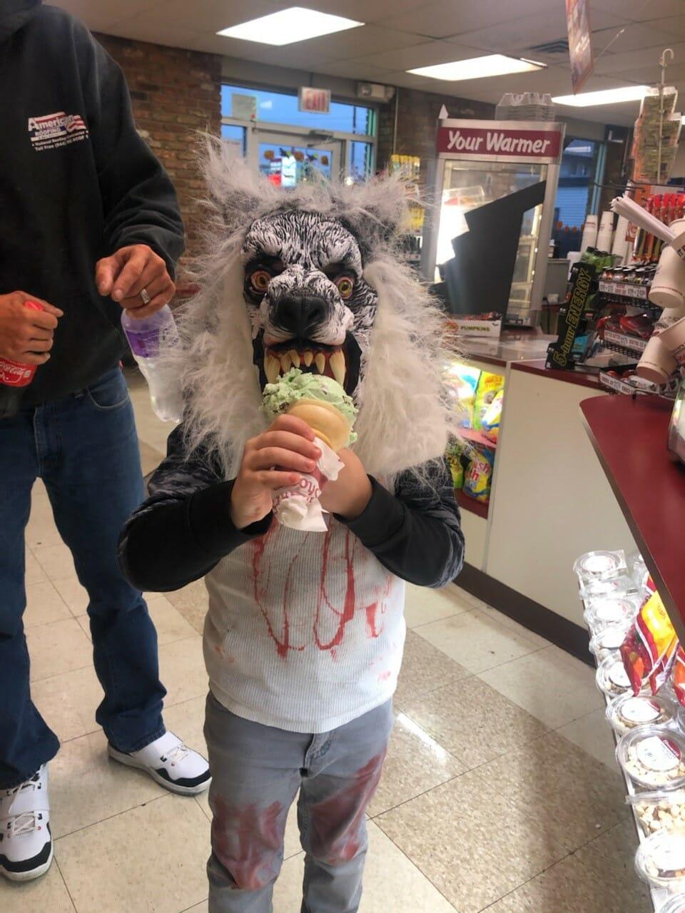 warewolf eating ice cream