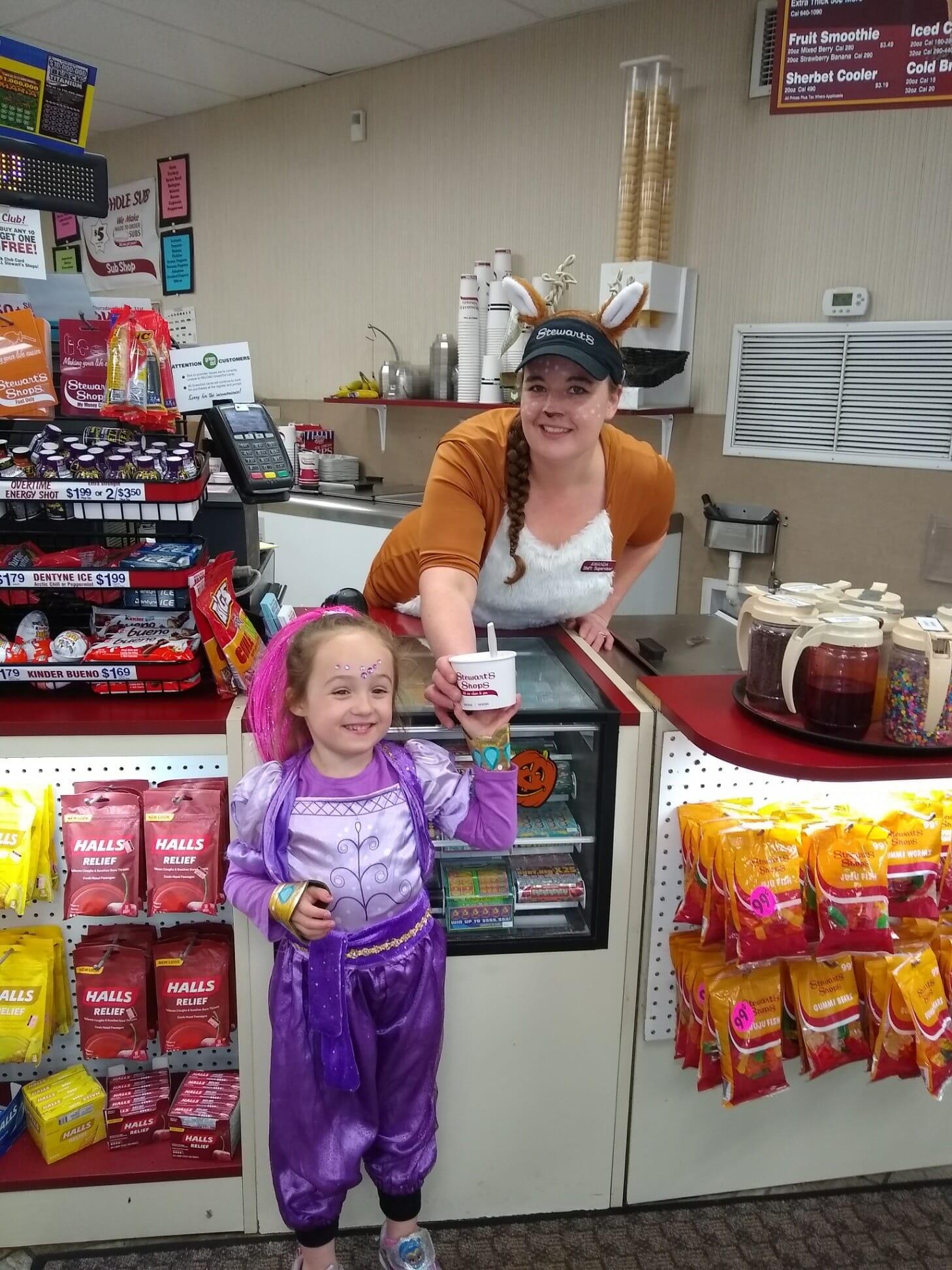 little genie getting ice cream on Halloween