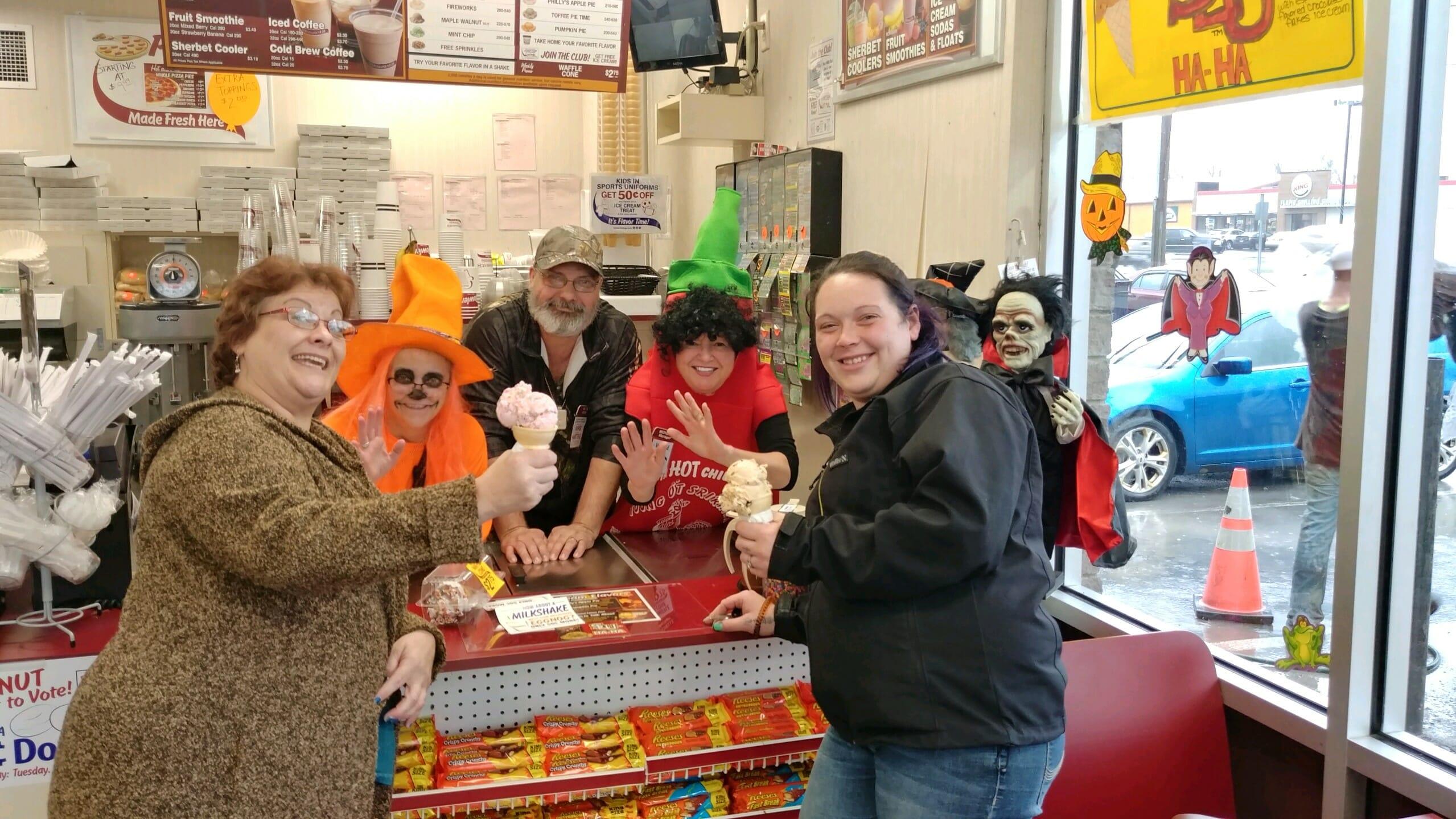 Enjoying ice cream at Stewart's