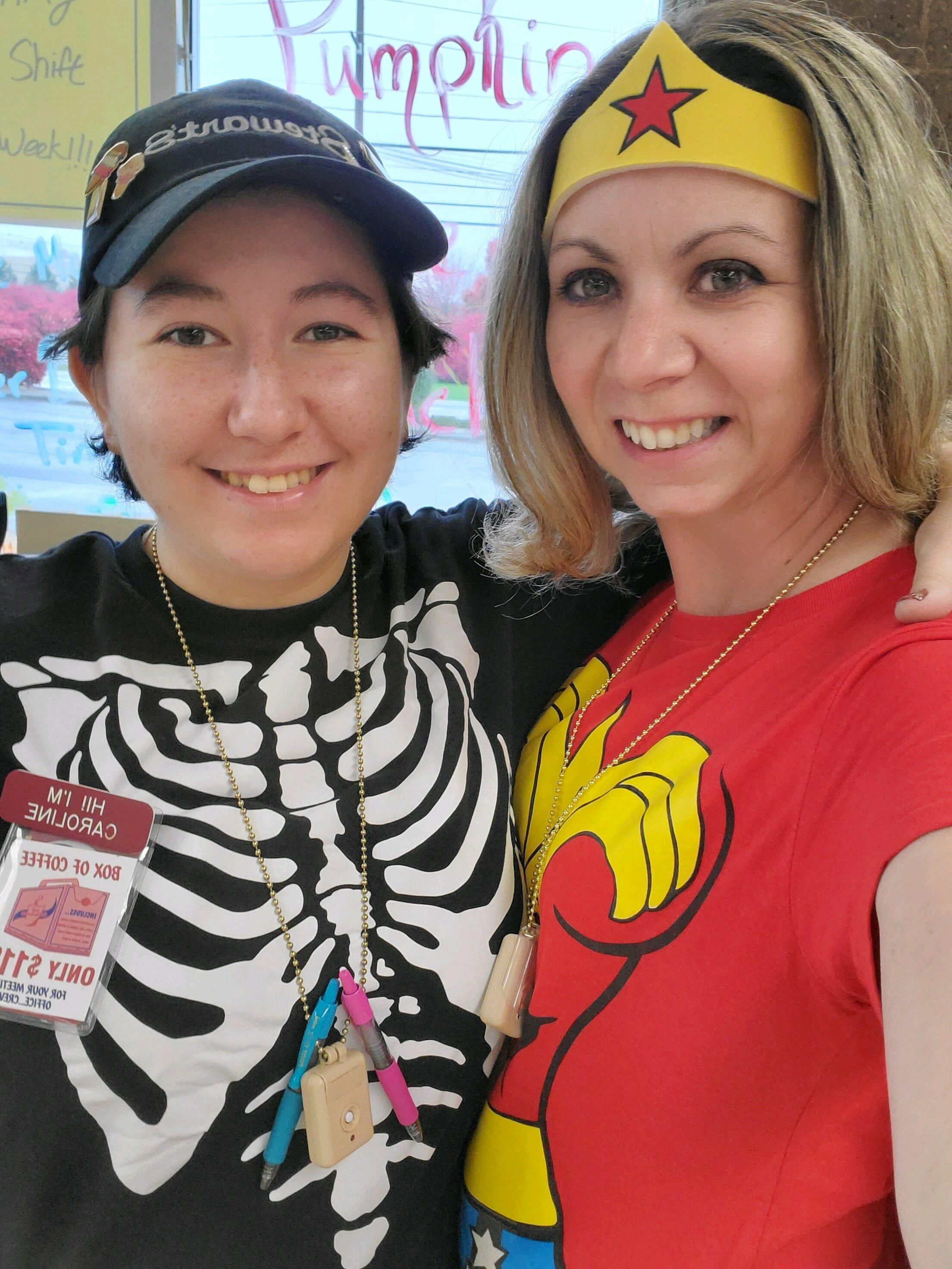 Super hero costume and skeleton