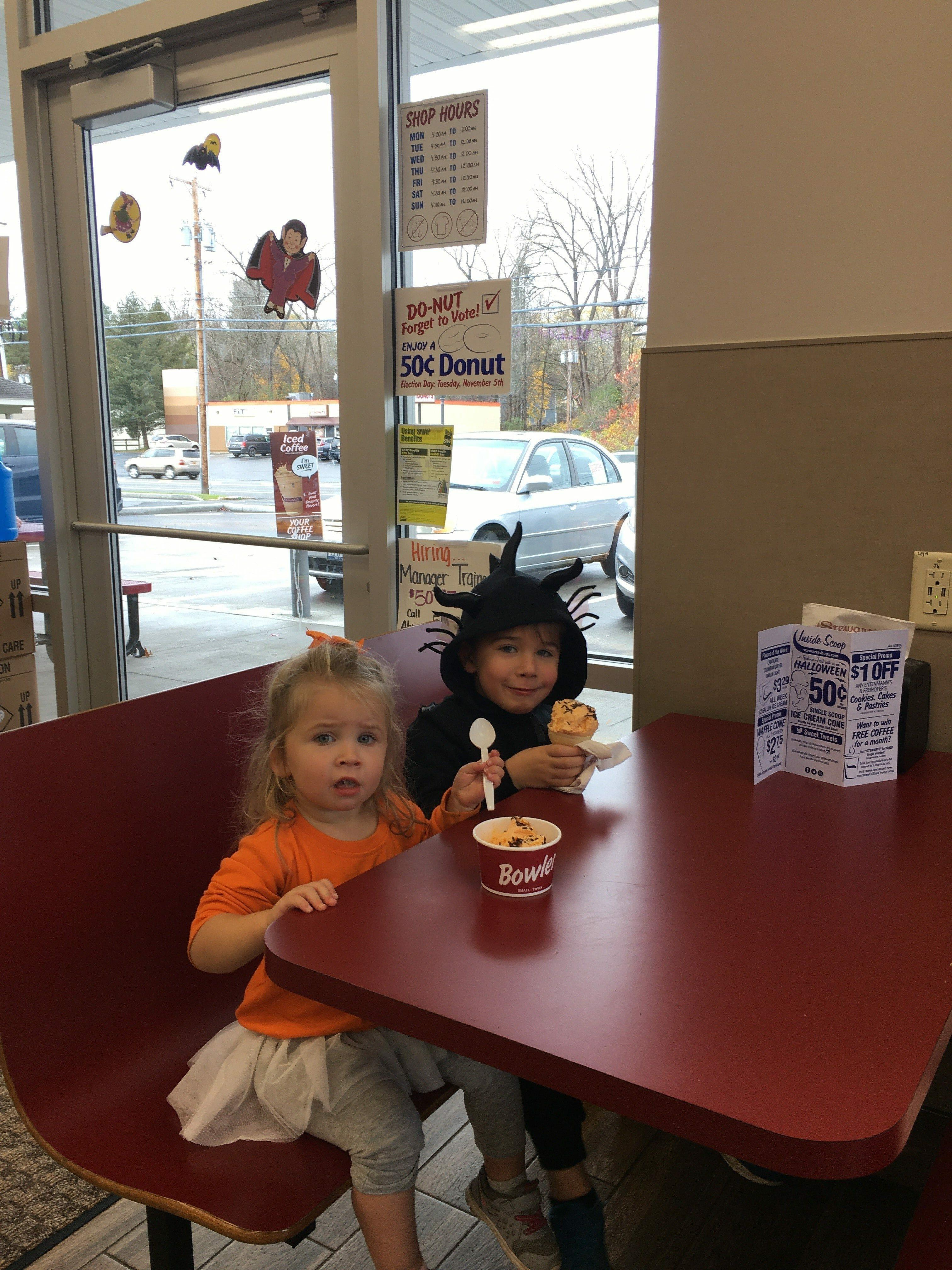 Little girls enjoying ice cream at Stewart's