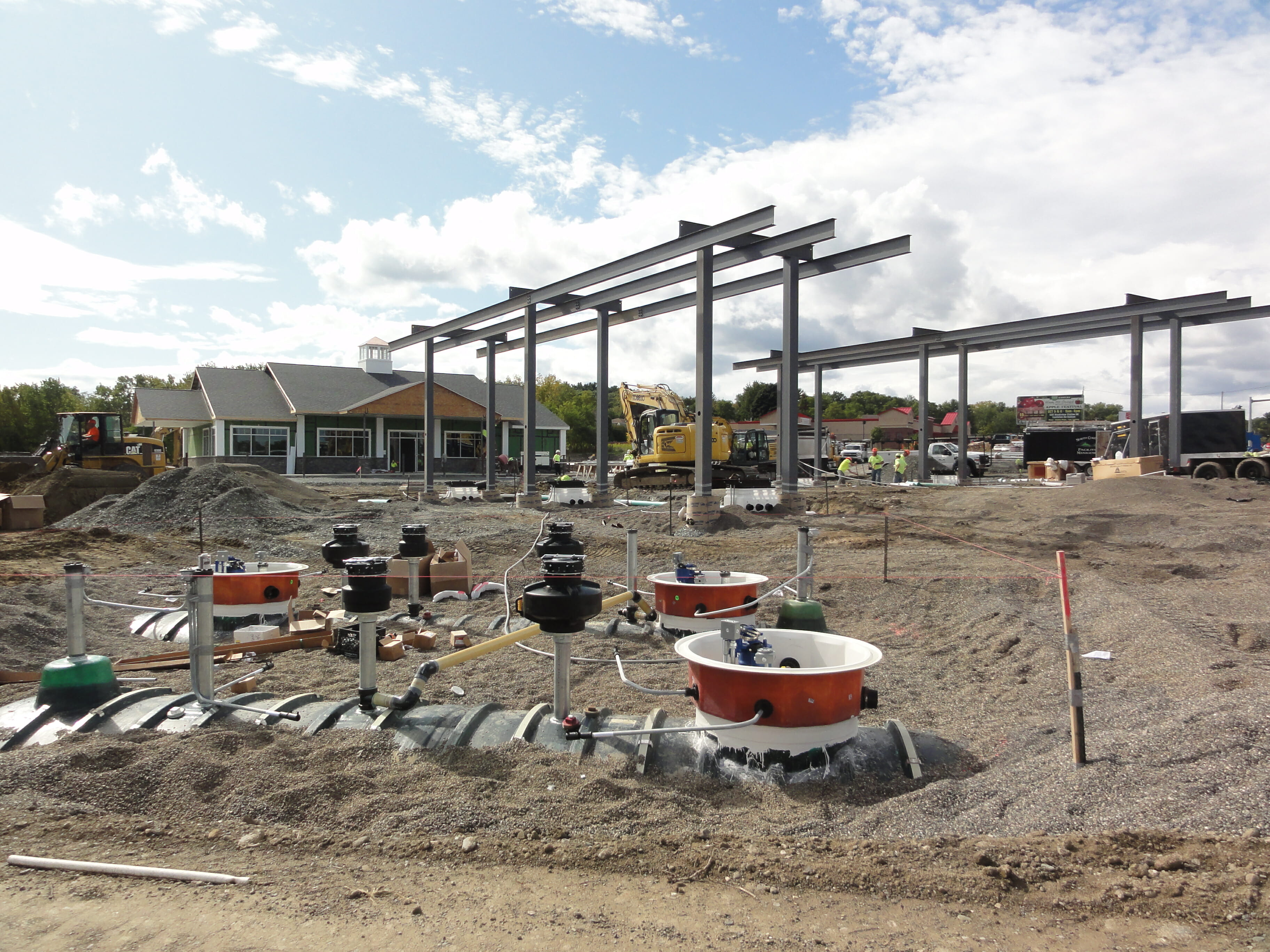 Steel beams being erected for gas canopy