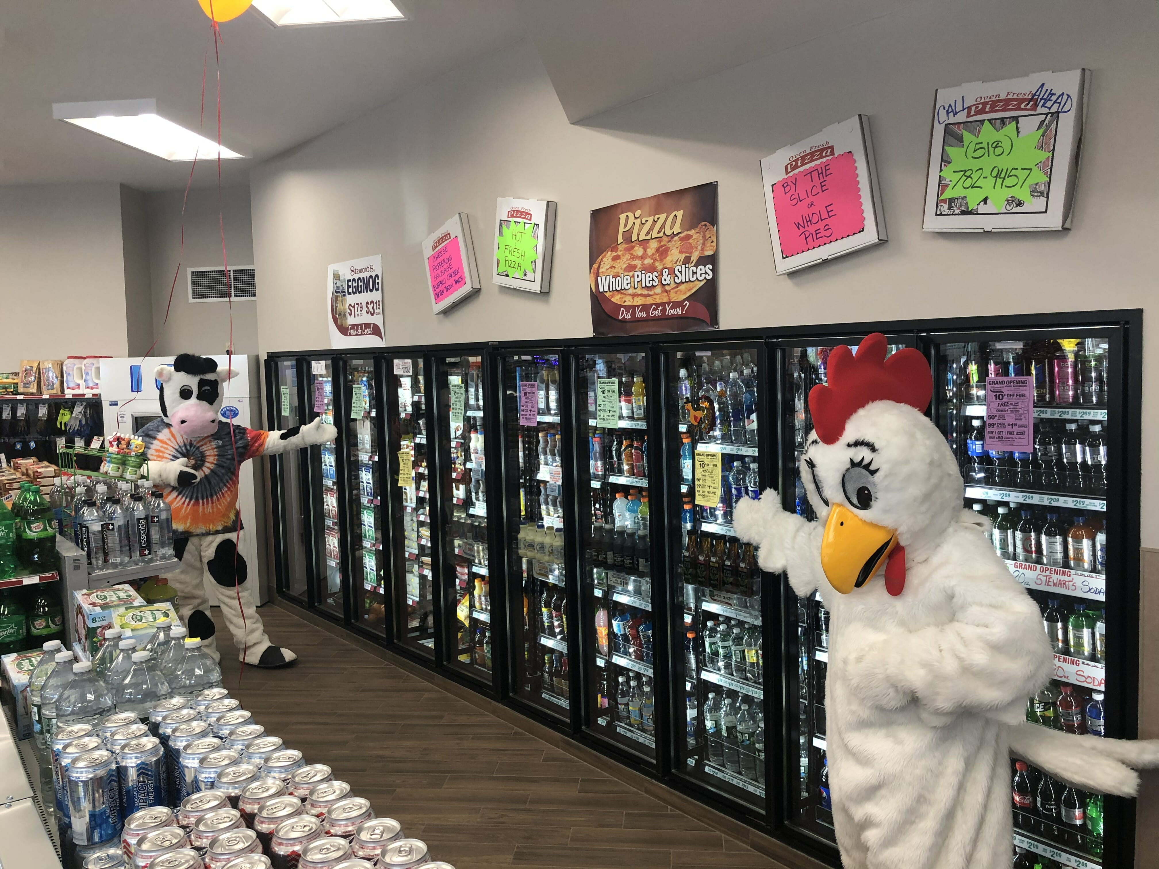 Flavor the cow and Fresh the chicken near the beverage coolers