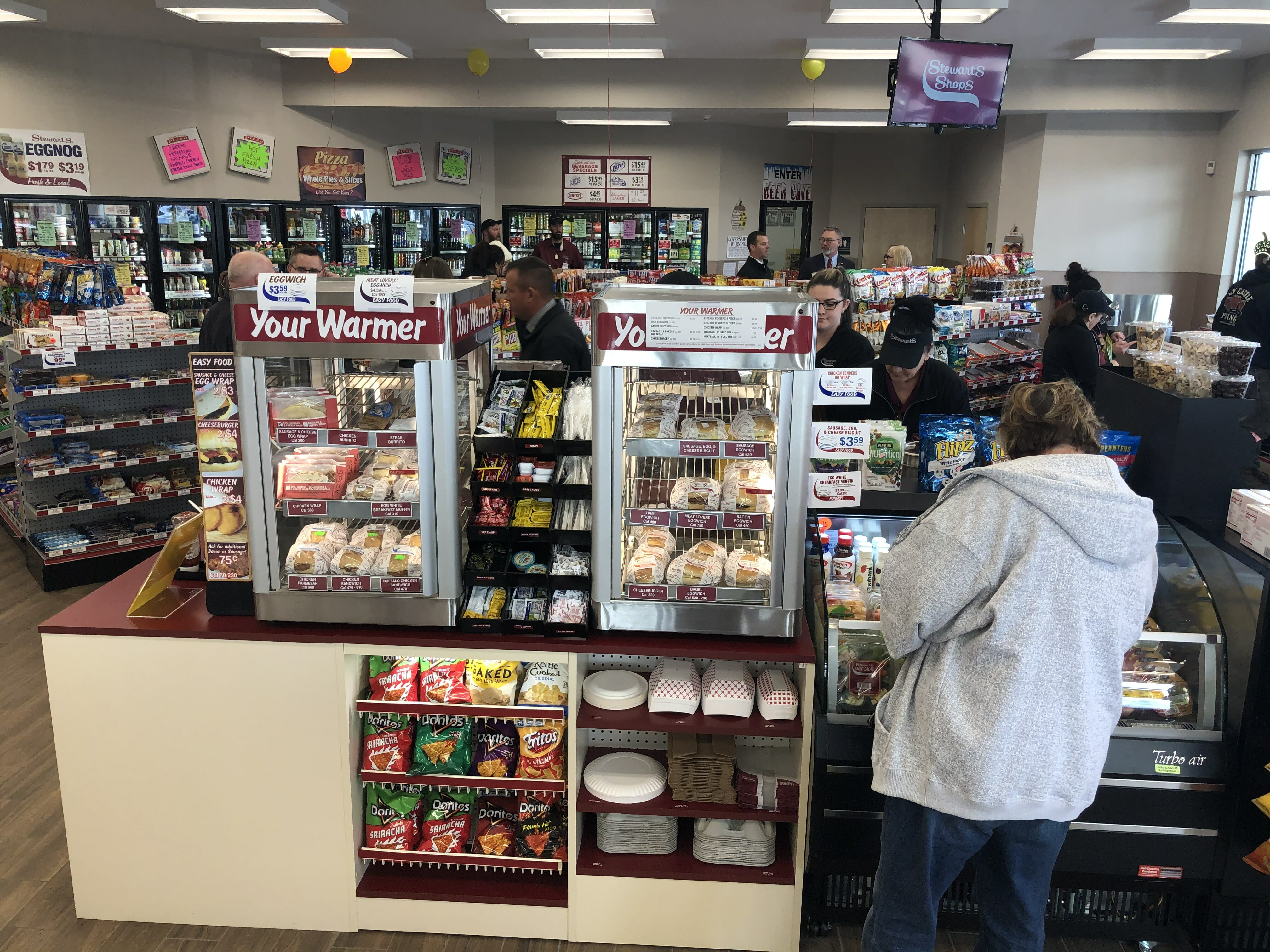 The inside of the Delatour road location including the food bar