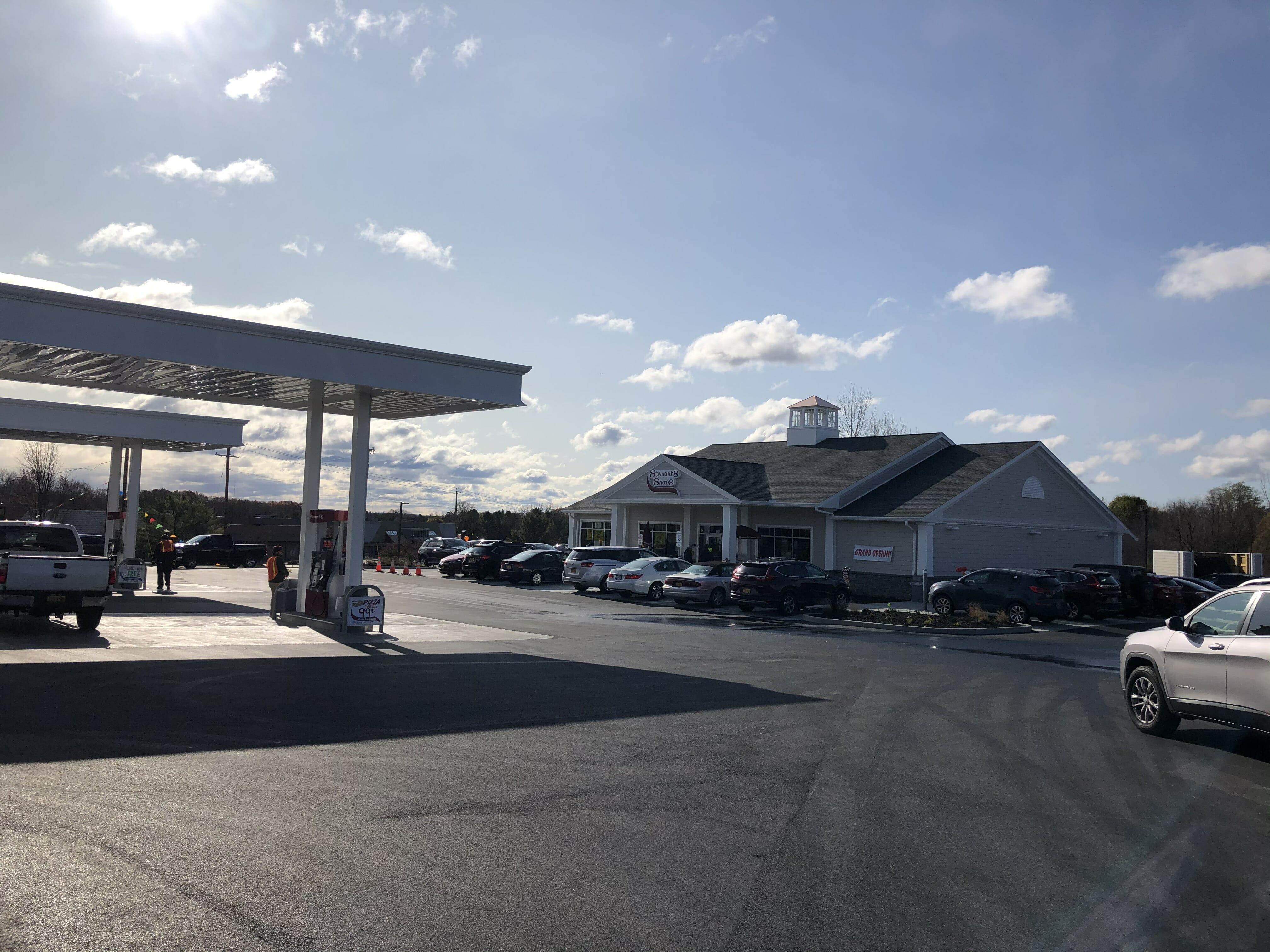 the new stewarts shop location including gas island