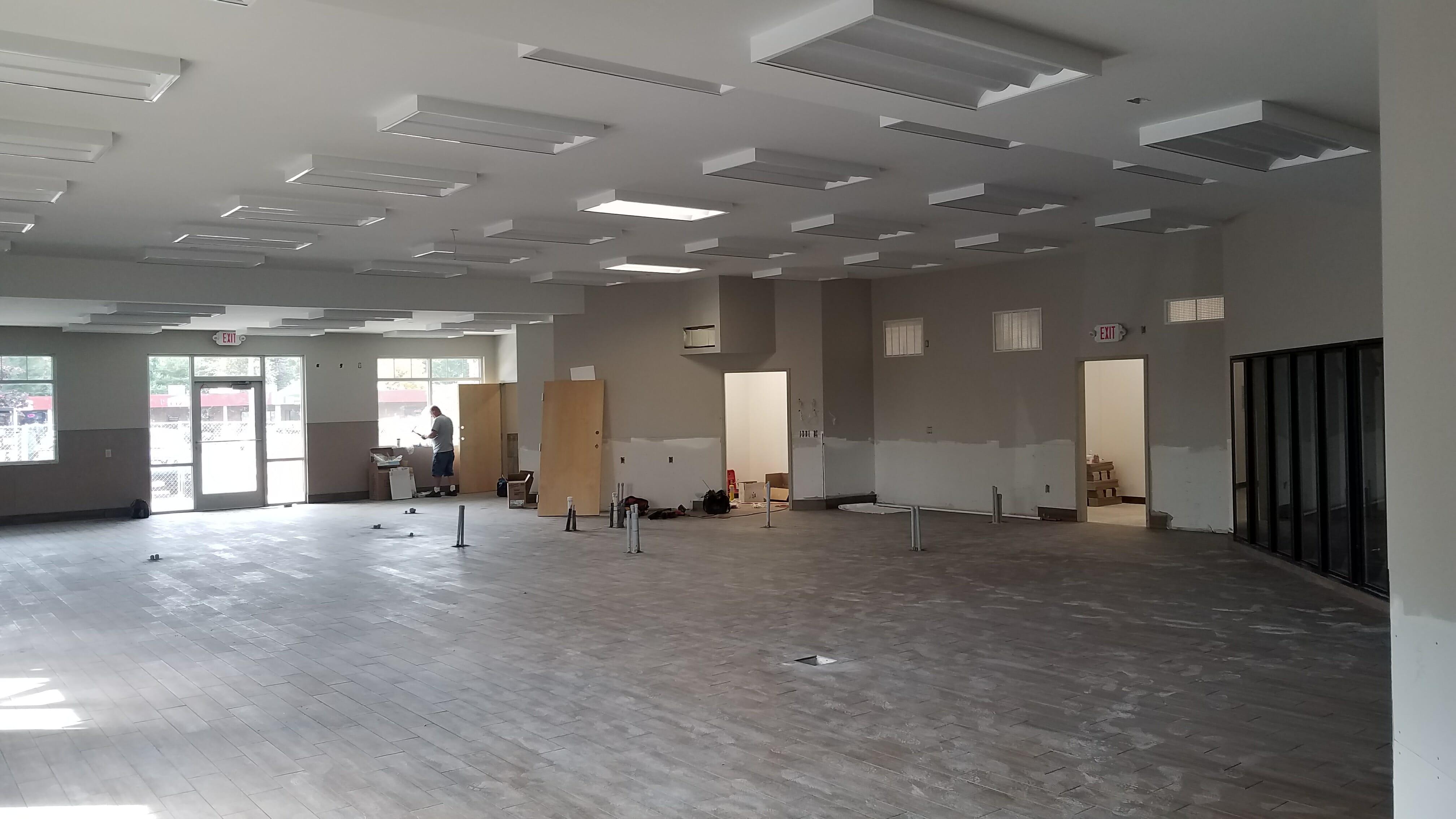 Interior of shop walls being built, Aviation Rd Stewart's Shop