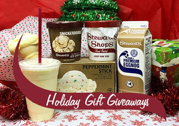 holiday gift giveaways with ice cream, eggnog and milkshake