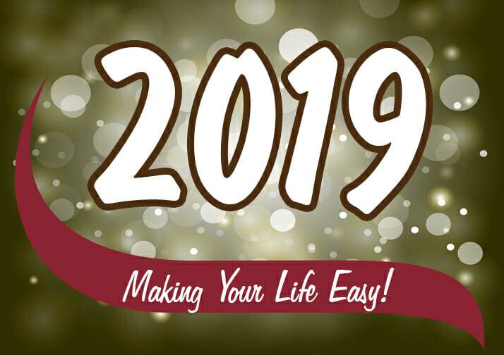 2019 Making Your Life Easy. Sparkles in the background.