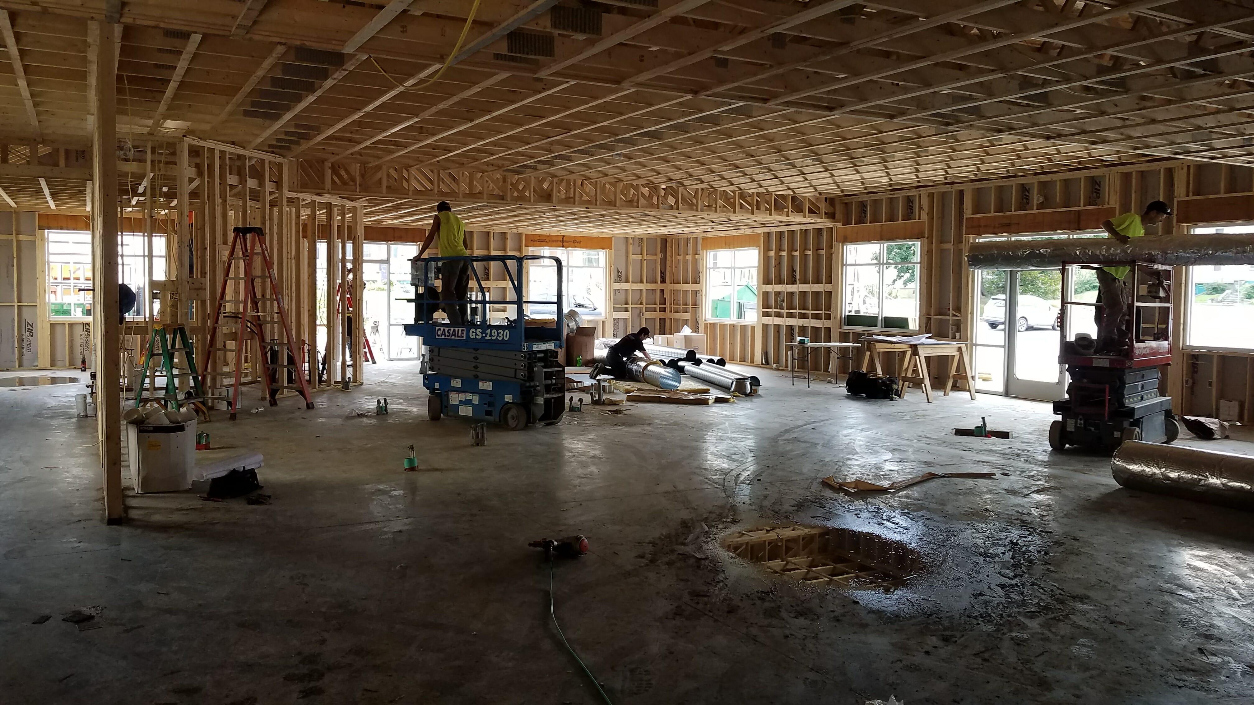 inside of stewart's shop being built