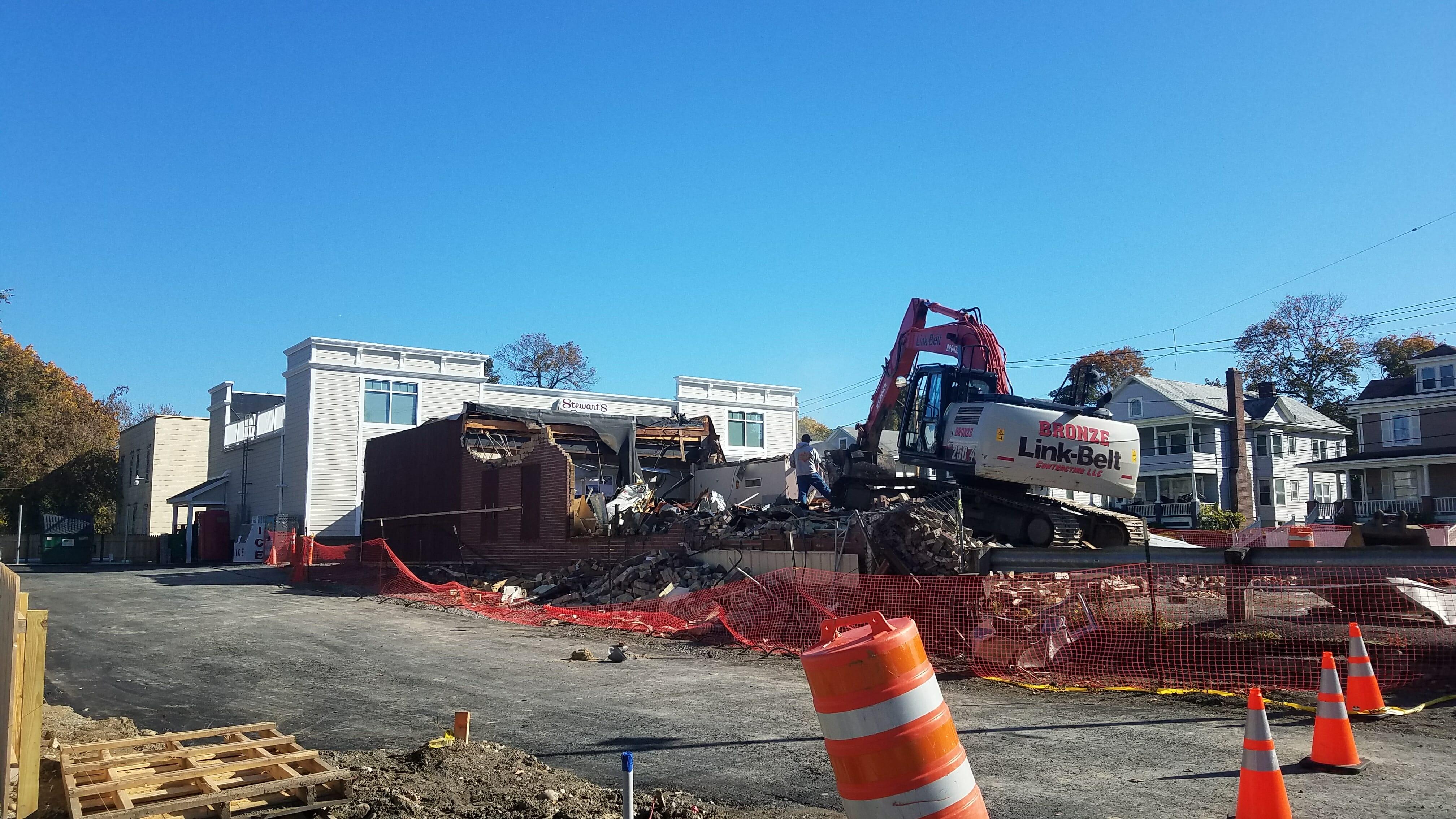 old shop being demolished