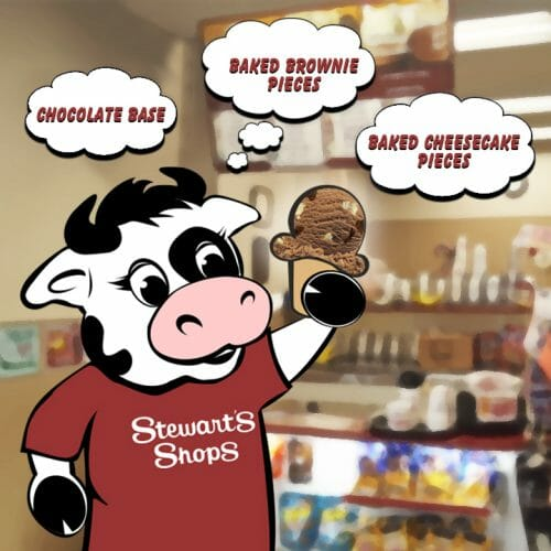 chocolate base, baked brownie and cheesecake pieces, flavor the cow