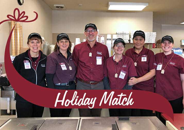 Gary and five employees from the wilton shop. Holiday match written in the Stewarts wave.