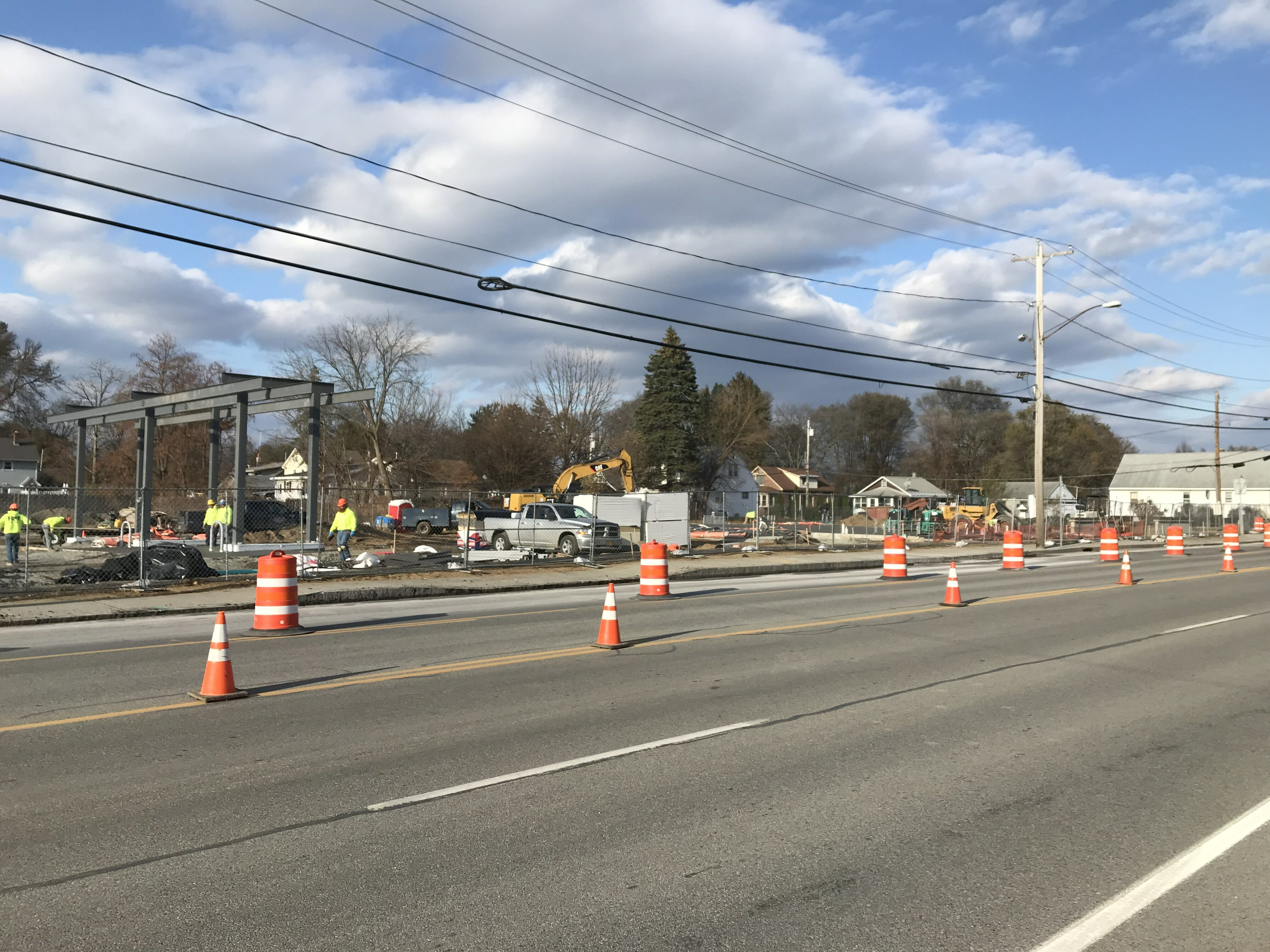Gas island in Fuller Rd being constructed