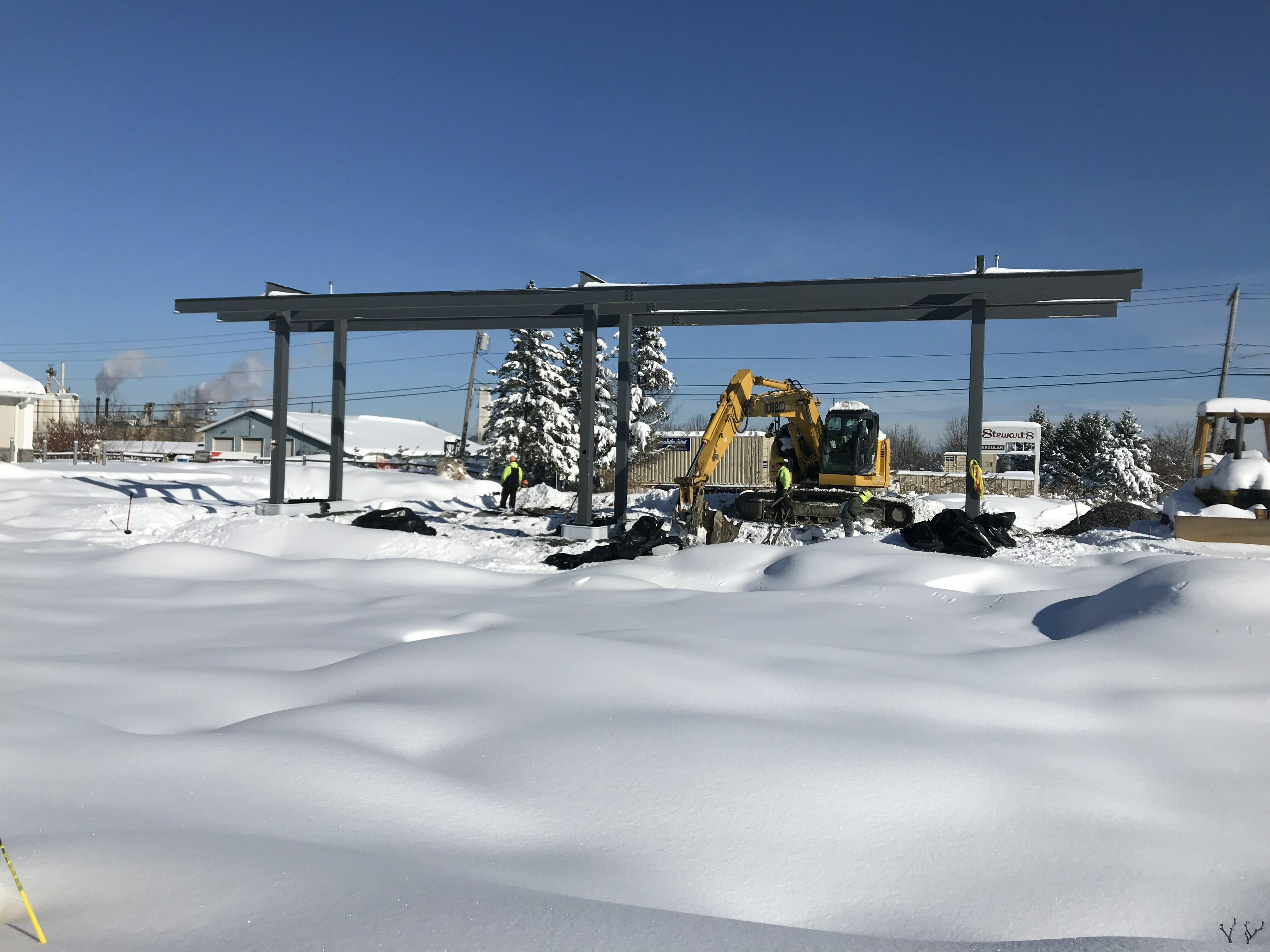 construction zone with snow