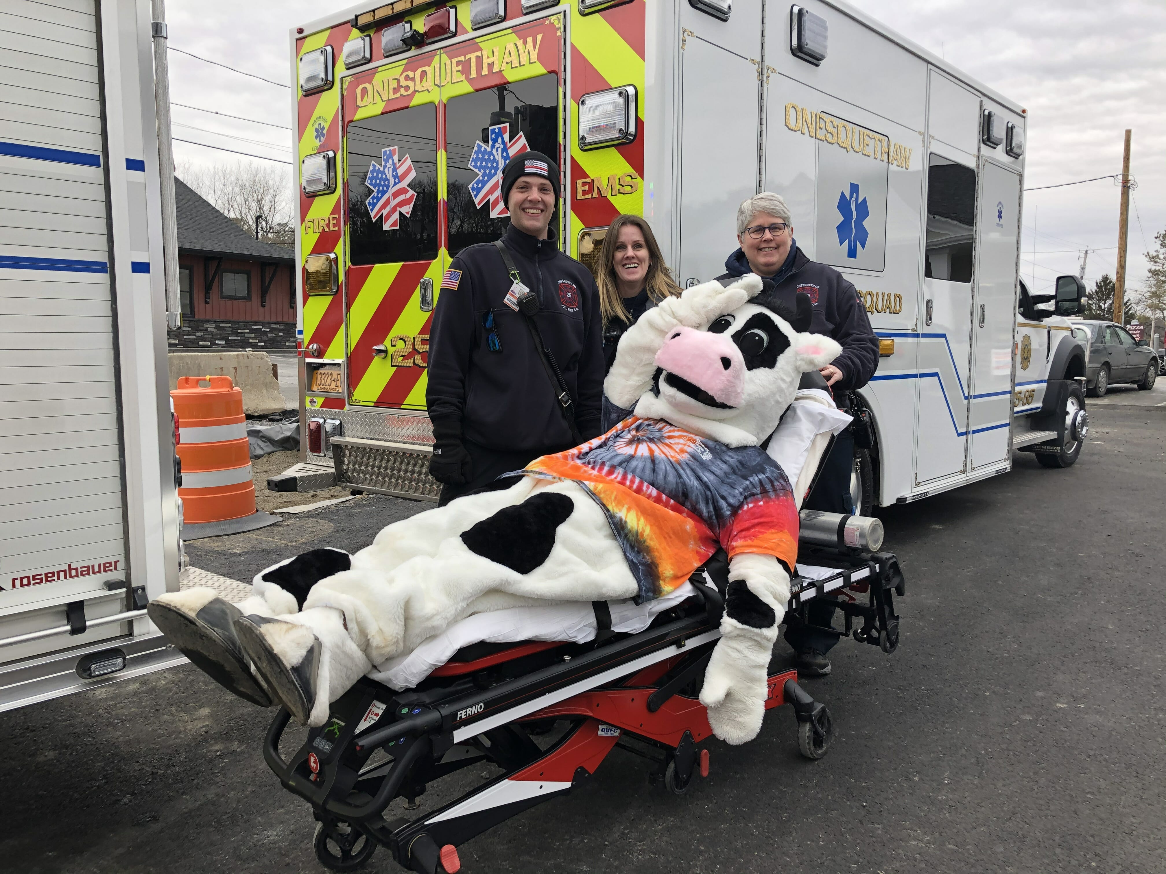 Flavor the cow pretending to be sick and three EMTs